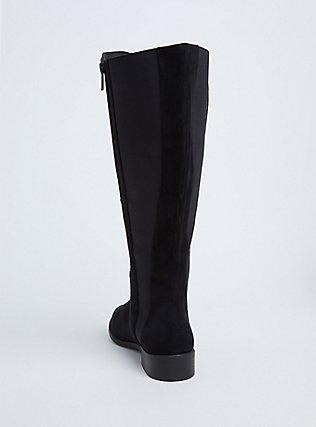 Black Faux Suede Knee-High Boot (WW), BLACK, alternate