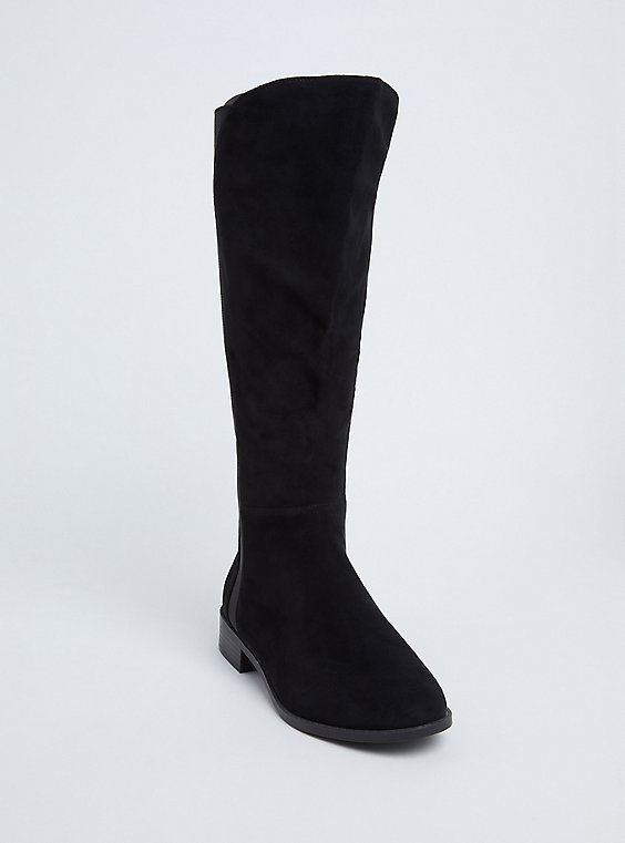 Black Faux Suede Knee-High Boot (WW), , hi-res