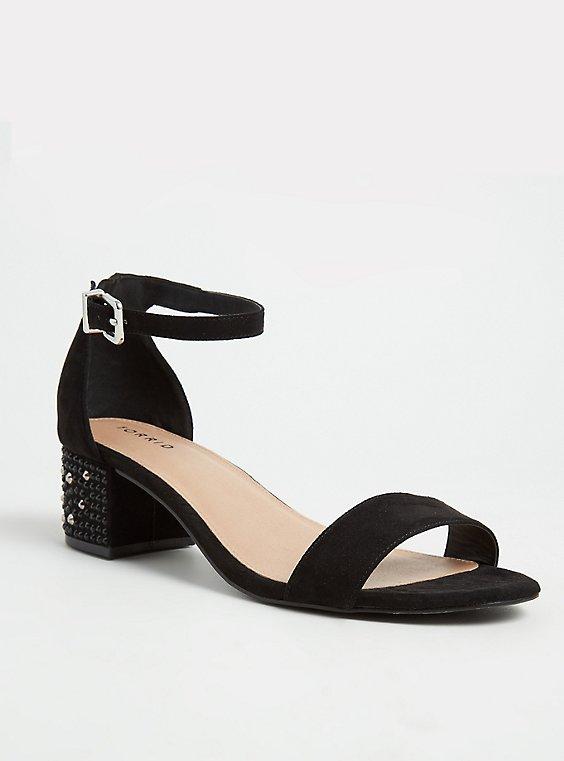 Black Rhinestone Ankle Strap Block Heel (Wide Width) , , hi-res