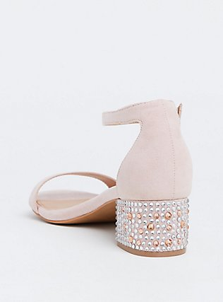 Light Pink Rhinestone Block Heel Sandal (WW) , BLUSH, alternate