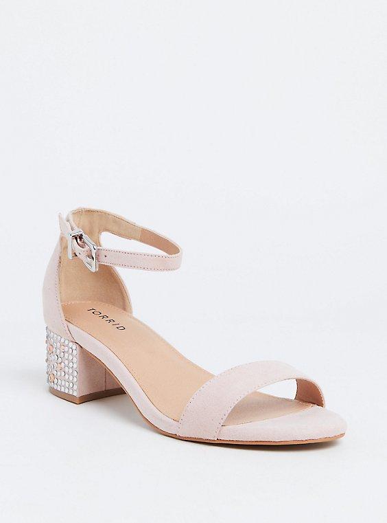Light Pink Rhinestone Block Heel Sandal (WW) , , hi-res