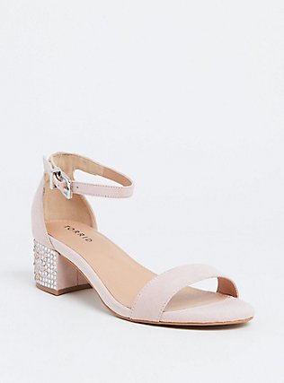 Light Pink Rhinestone Block Heel Sandal (WW) , BLUSH, hi-res