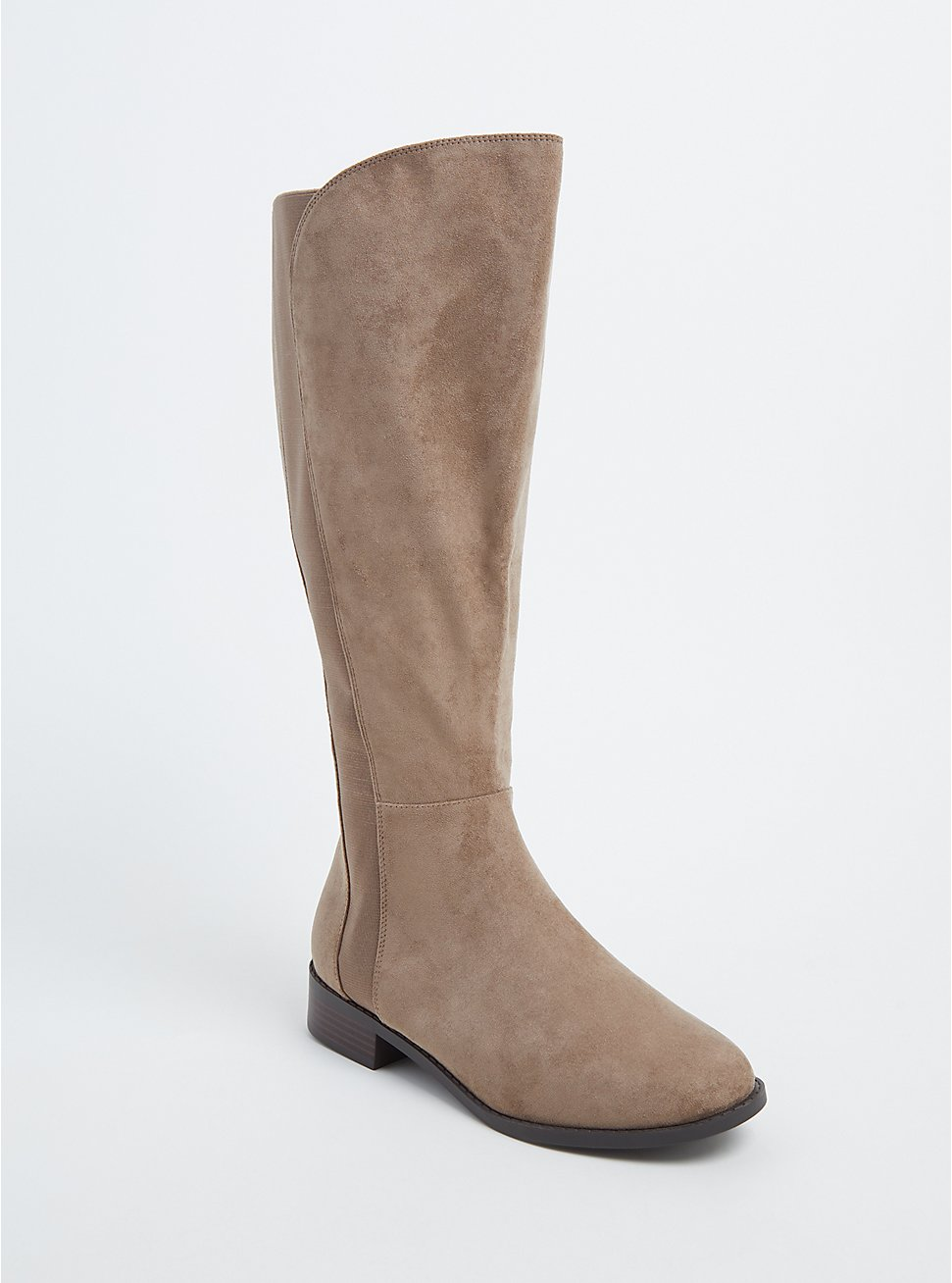 Taupe Faux Suede Knee-High Boot (WW), BROWN, hi-res