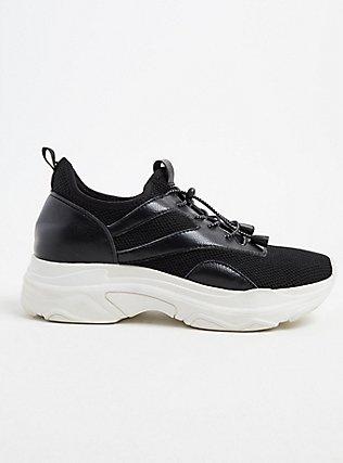 Plus Size Black Bungee Mesh Sneaker (WW), BLACK, alternate