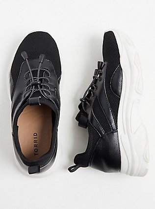 Plus Size Black Bungee Mesh Sneaker (WW), BLACK, hi-res