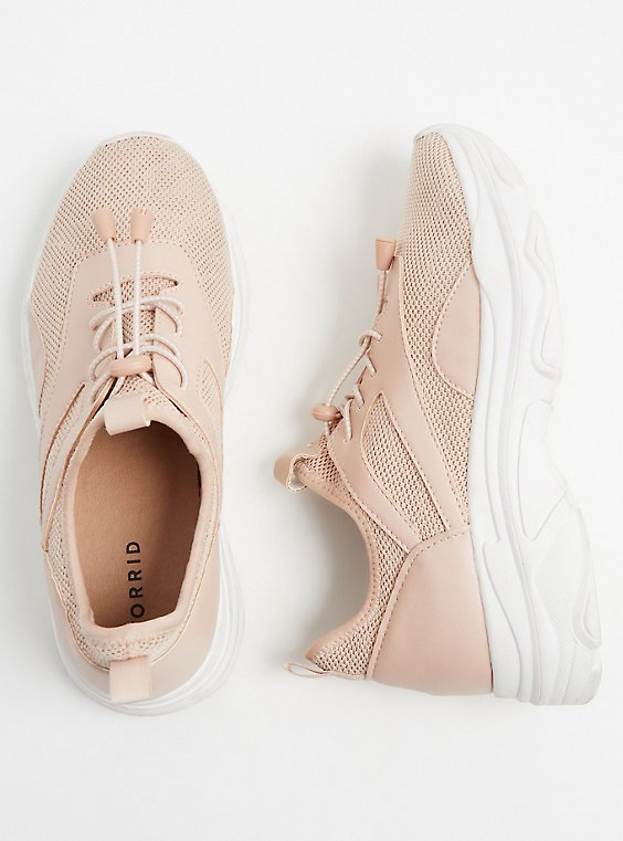 Plus Size Light Pink Mesh Bungee Sneaker (WW), , hi-res