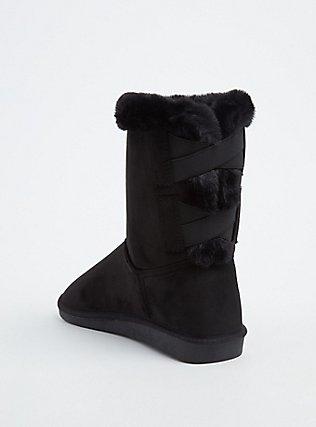 Plus Size Black Faux Suede & Faux Fur Strappy Bootie (WW) , BLACK, alternate