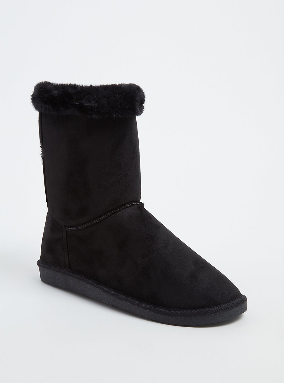 Black Faux Suede & Faux Fur Strappy Bootie (WW) , BLACK, hi-res