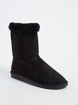 Plus Size Black Faux Suede & Faux Fur Strappy Bootie (WW) , BLACK, hi-res