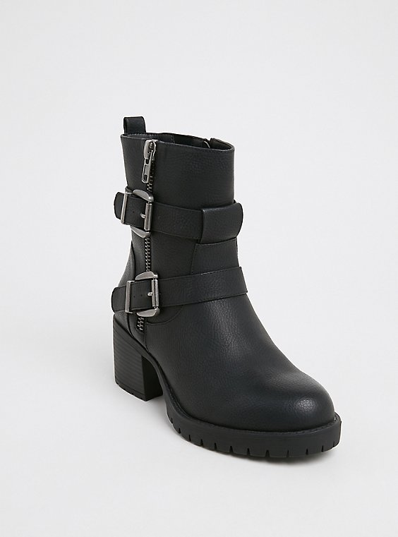 Black Faux Leather Lug Sole Moto Boot (WW), , hi-res