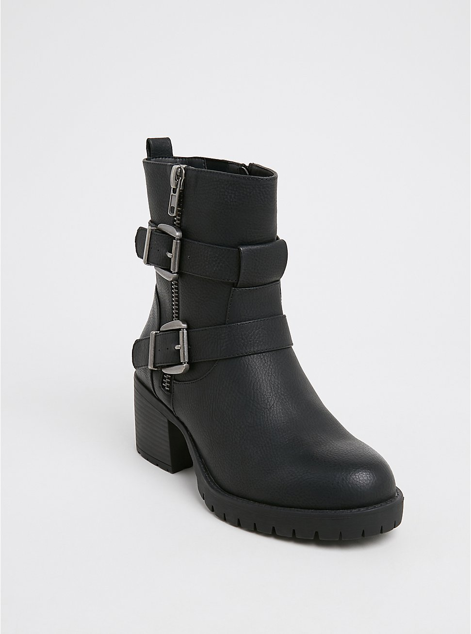Black Faux Leather Lug Sole Moto Boot (WW), BLACK, hi-res