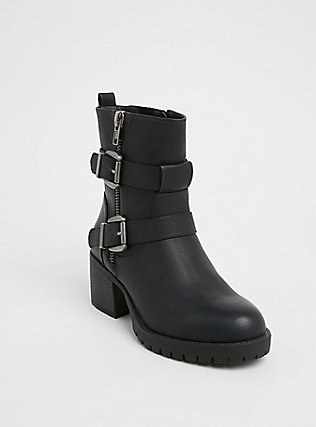 Plus Size Black Faux Leather Lug Sole Moto Boot (WW), BLACK, hi-res