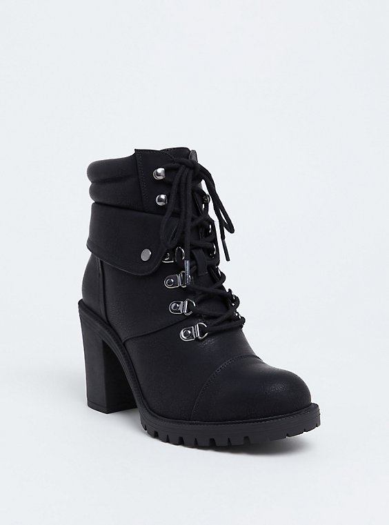Black Faux Leather Lace-Up Hiker Boot (Wide Width), , hi-res