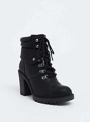 Plus Size Black Faux Leather Lace-Up Hiker Boot (WW), BLACK, hi-res
