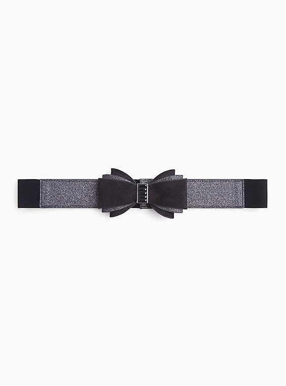 Black Shimmer & Faux Suede Bow Belt, , hi-res