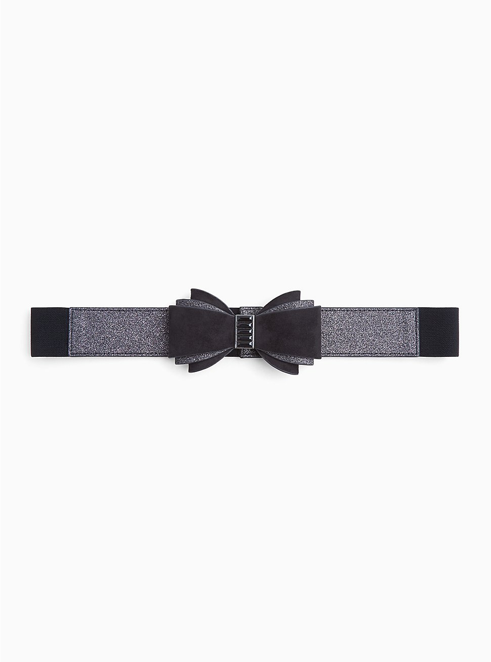 Black Shimmer & Faux Suede Bow Belt, BLACK, hi-res