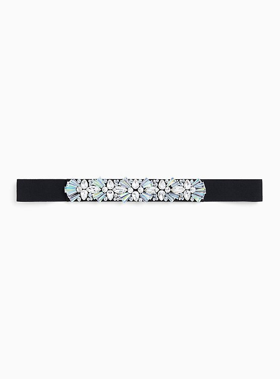 Black Embellished Rhinestone Waist Belt, , hi-res
