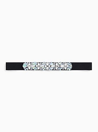 Plus Size Black Embellished Rhinestone Waist Belt, BLACK, hi-res