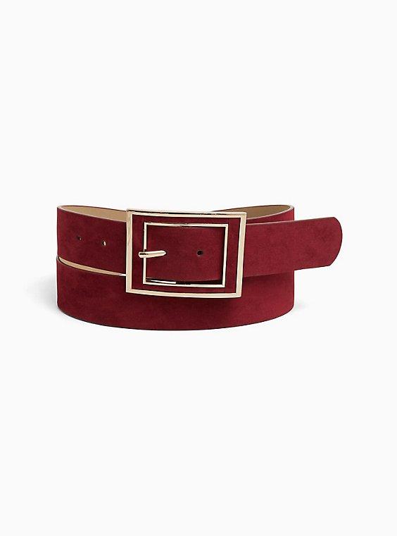 Dark Red Faux Suede Rectangle Buckle Belt, , hi-res
