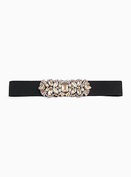 Plus Size Embellished Smoky Gold Stone & Faux Leather Stretch Belt, GOLD, hi-res