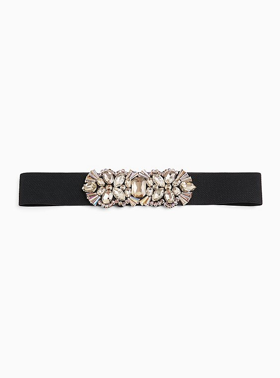 Embellished Smoky Gold Stone & Faux Leather Stretch Belt, GOLD, hi-res