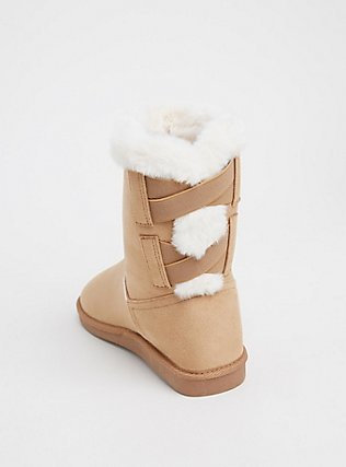 Tan Faux Fur Lined Strappy Back Bootie (WW), BROWN, alternate
