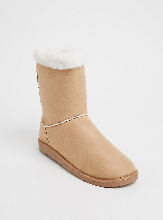 Tan Faux Fur Lined Strappy Back Bootie (WW), , hi-res