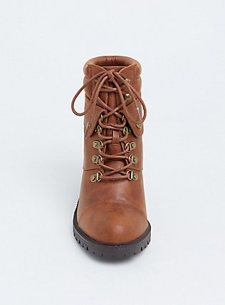 Plus Size Cognac Faux Leather Lace-Up Hiker Boot (WW), BROWN, alternate
