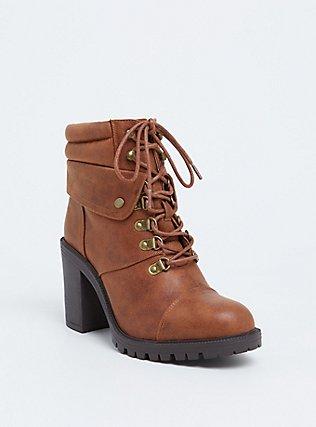 Plus Size Cognac Faux Leather Lace-Up Hiker Boot (WW), BROWN, hi-res