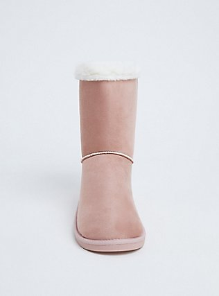 Blush Pink Faux Fur Strappy Back Bootie (WW), BLUSH, alternate
