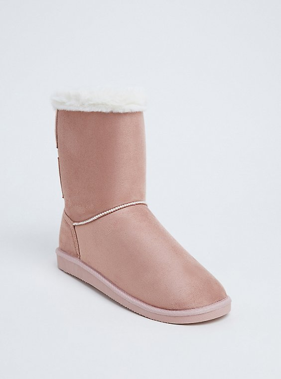 Blush Pink Faux Fur Strappy Back Bootie (WW), , hi-res