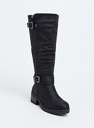Black Faux Leather Slouchy Knee-High Boot, BLACK, hi-res