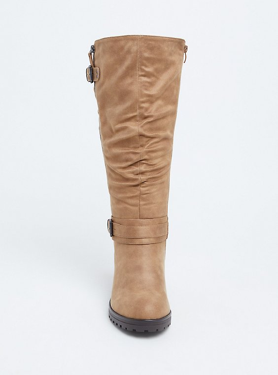 Plus Size Tan Faux Leather Slouchy Knee High Boot (WW