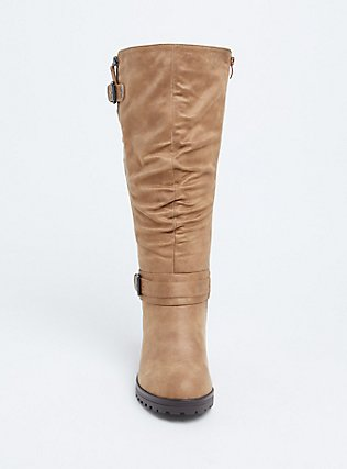 Tan Faux Leather Slouchy Knee-High Boot (WW), BROWN, alternate