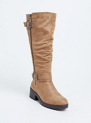 Tan Faux Leather Slouchy Knee-High Boot (WW), BROWN, hi-res
