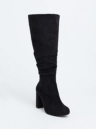 Plus Size Black Faux Suede Over-the-Knee Boot (WW), BLACK, hi-res