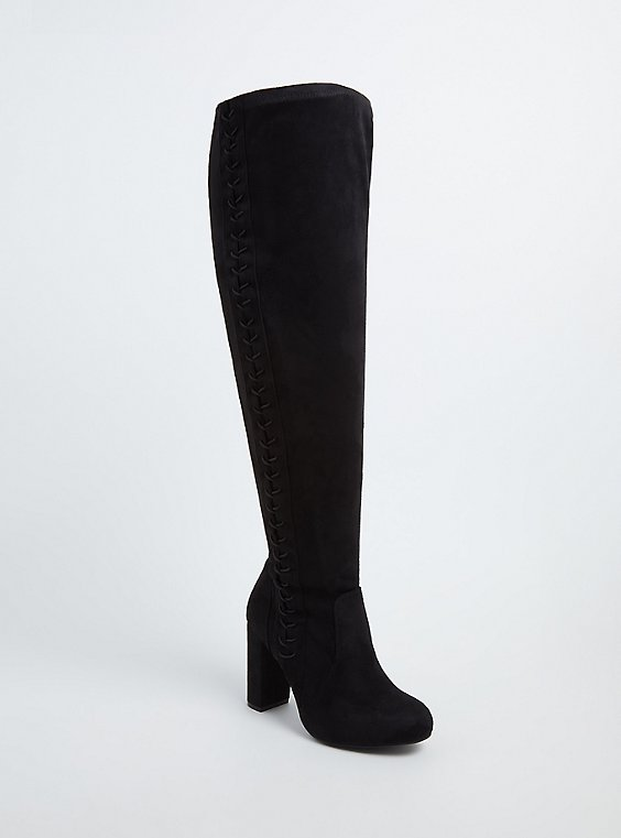 Black Faux Suede Stretch Corset Over-the-Knee Boot (Wide Width), , hi-res
