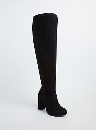 Plus Size Black Faux Suede Stretch Corset Over-the-Knee Boot (WW), BLACK, hi-res