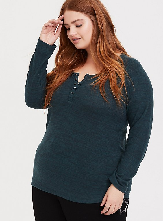 Plus Size Super Soft Plush Dark Green Long Sleeve Snap Henley Tee, , hi-res