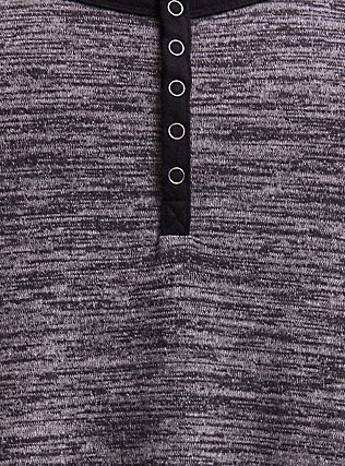 Plus Size Super Soft Plush Grey Snap-Button Henley Long Sleeve Raglan Tee, DEEP BLACK, alternate