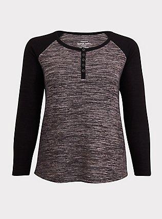 Plus Size Super Soft Plush Grey Snap-Button Henley Long Sleeve Raglan Tee, DEEP BLACK, flat