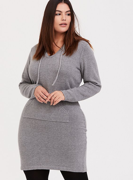 Light Grey Hoodie Dress, , hi-res