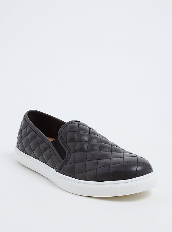 Black Faux Leather Quilted Sneaker (WW), , hi-res