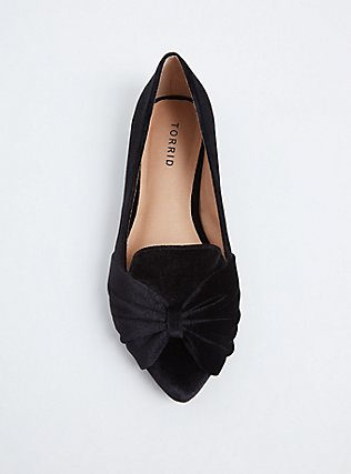 Black Velvet Pointed Toe Flat (WW), BLACK, alternate