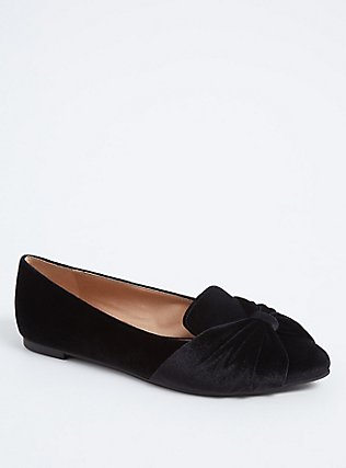 Black Velvet Pointed Toe Flat (WW), BLACK, hi-res