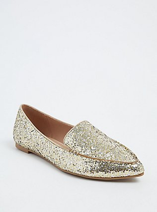 Gold Glitter Pointed Loafer (Wide Width), GOLD, hi-res