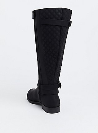 Black Quilted Back Knee-High Boot (WW), BLACK, alternate