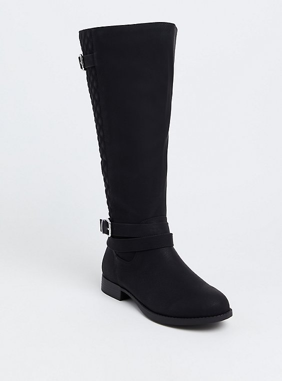 Black Quilted Back Knee-High Boot (Wide Width), , hi-res