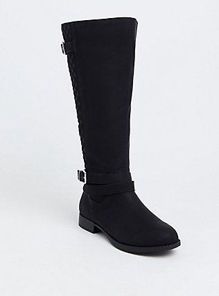 Black Quilted Back Knee-High Boot (WW), BLACK, hi-res