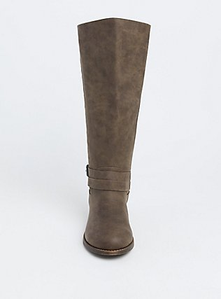 Dark Taupe Quilted Buckle Knee-High Boot (WW), TAN/BEIGE, alternate